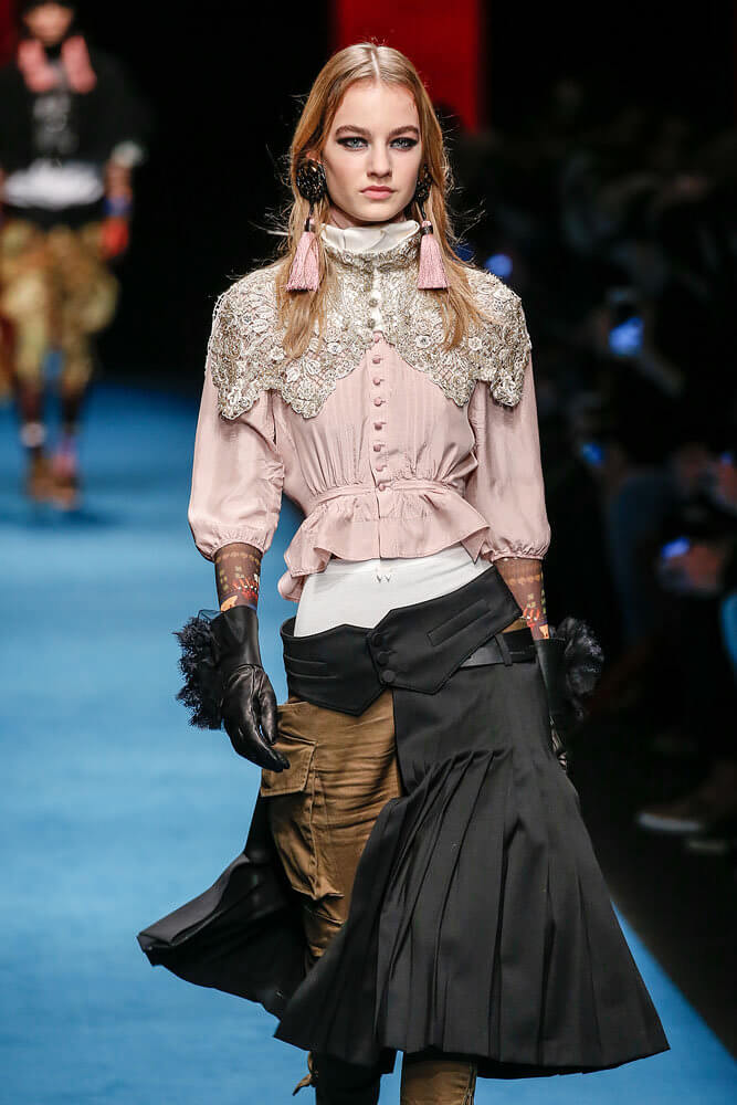 Milan, IT - - A model walks the runway at the Dsquared2 Fall/Winter 2016 fashion show during Milan Fashion Week.